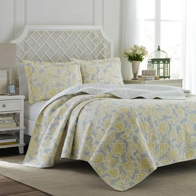 Joy 3-Piece Grey Lemon Full/Queen Quilt Set
