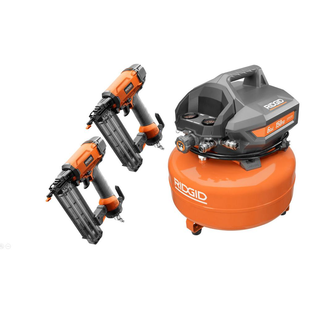 RIDGID 6 Gal. Portable Electric Pancake Air Compressor with 18-Gauge 2-1/8 in. Brad Nailer Combo with 2 Brad Nailers