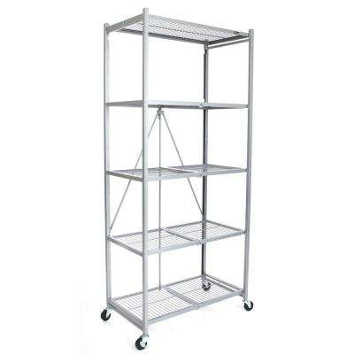 21 in. x 36 in. x 78 in. Large Wheeled 5-Shelf Folding Steel Wire Shelving Platinum