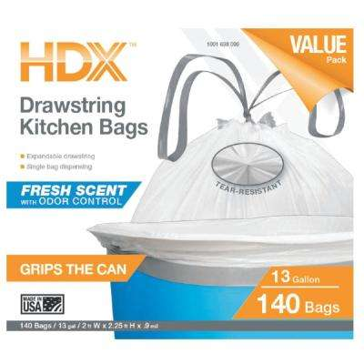 13 Gal. Kitchen Drawstring Flex Scented Bags (140-Count) (48 Units per Pallet)