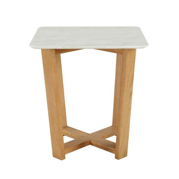Acme Furniture Tartan White and Natural Side table 80985