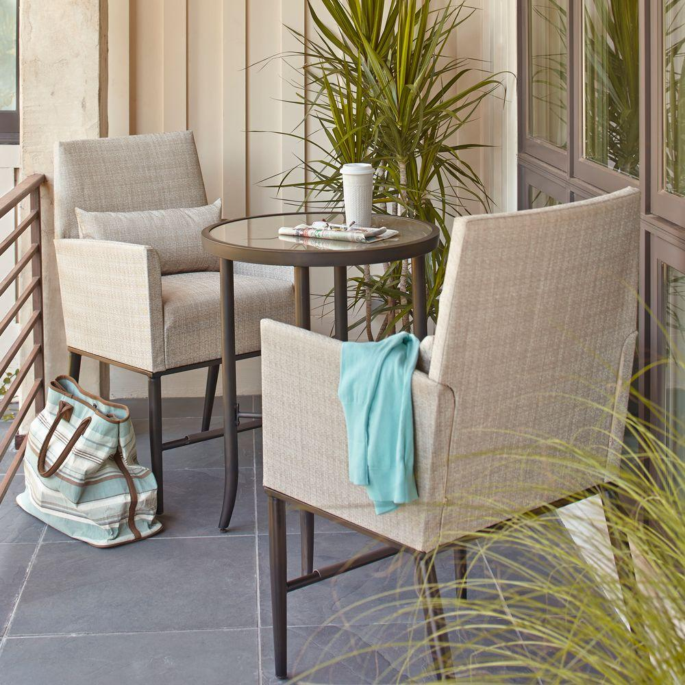 hampton bay aria 3 piece balcony patio bistro set - Garden Furniture 3 Piece