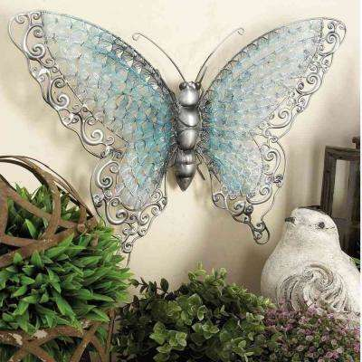 21 in. x 16 in. Natural Iron Butterfly Wall Sculpture