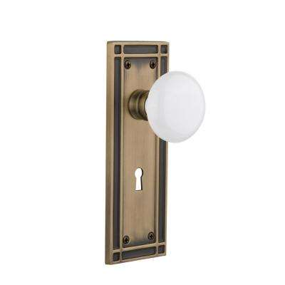 Mission Plate Interior Mortise White Porcelain Door Knob in Antique Brass