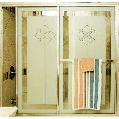 Model 1100 59-1/2 in. x 67-3/4 in. Framed Sliding Shower Door in Bright Clear with Paladin Rose Etched Glass