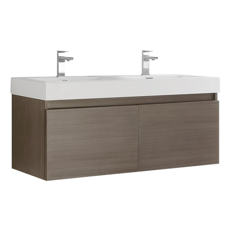 Fresca Mezzo 48 in. Modern Wall Hung Bath Vanity in Gray Oak with Double Vanity Top in White with White Basins