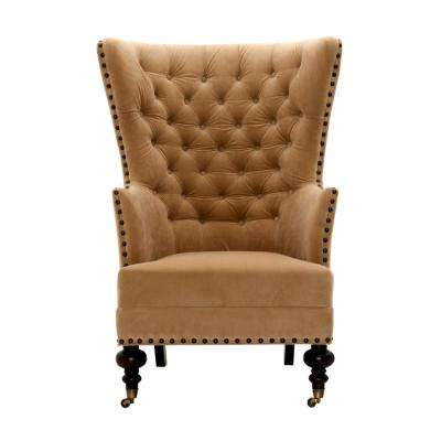 Remmy Velvet Wheat Upholstered Arm Chair