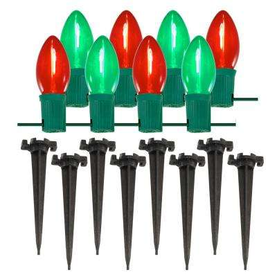 Pathway Red and Green String Lights (Set of 8)