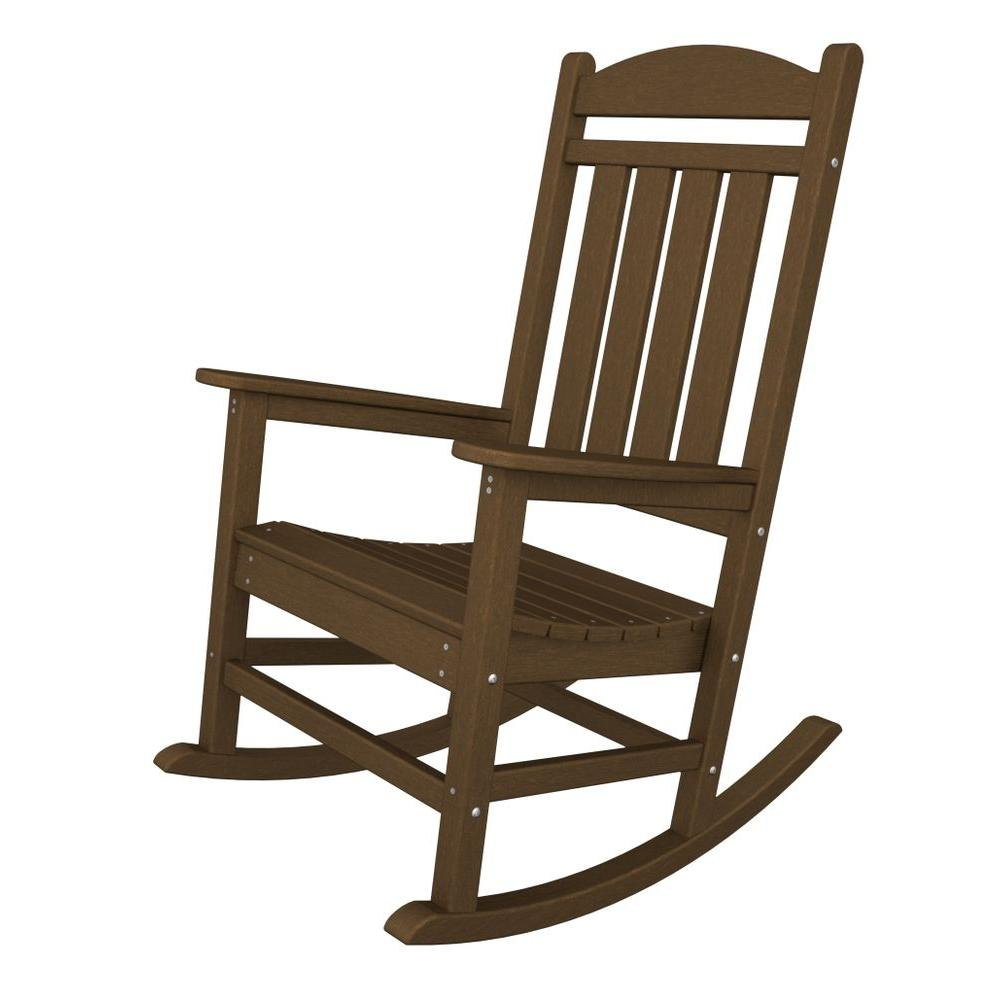 polywood presidential teak patio rocker r100te the home depot