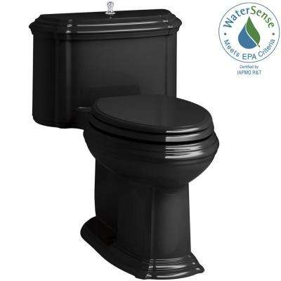 Portrait 1-piece 1.28 GPF Single Flush Elongated Toilet with AquaPiston Flush Technology in Black, Seat Included