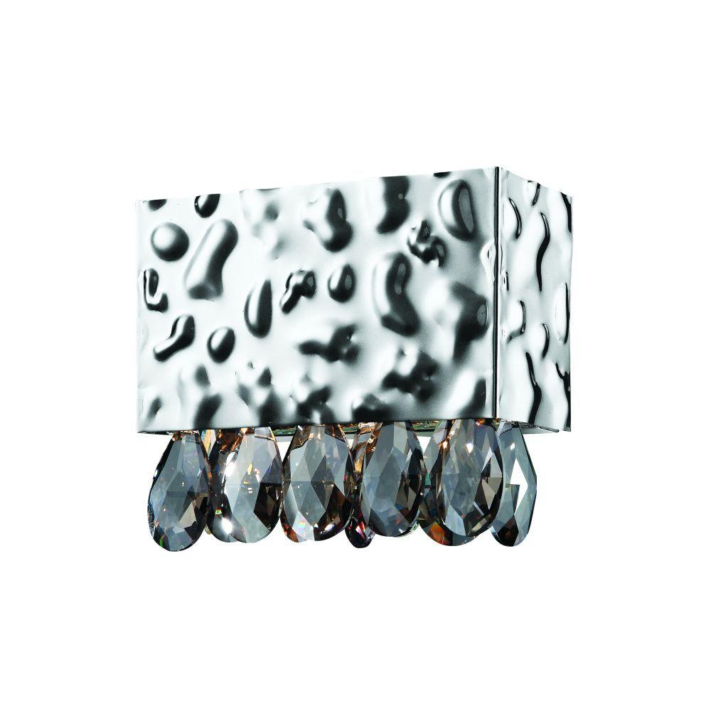 null Martellato Collection 1-Light Chrome Wall Sconce with Smoke Crystal Drops-DISCONTINUED