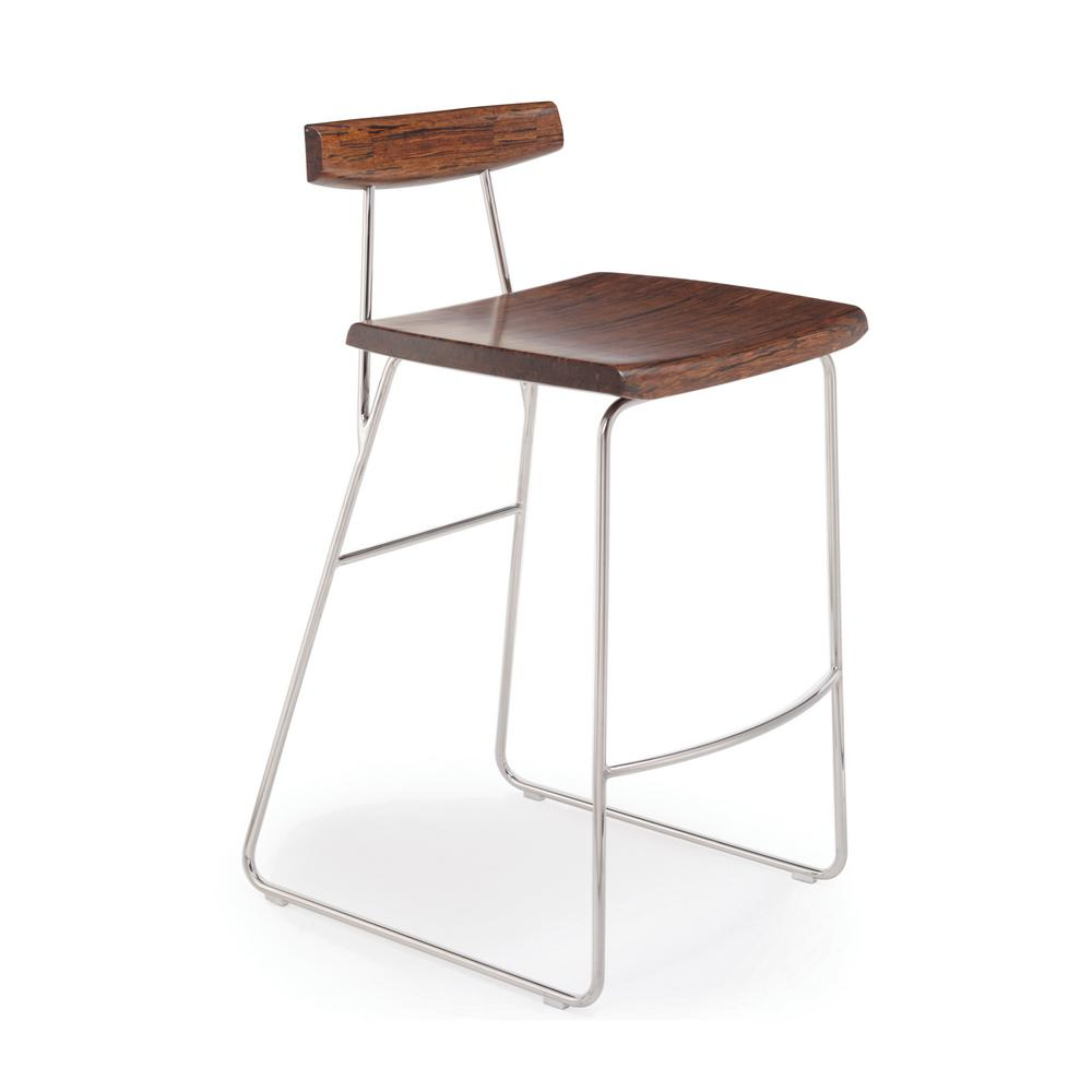 Exotic 100 solid bamboo and polished stainless steel bar stool