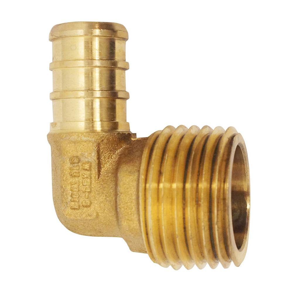"Brass Crimp Fitting 1//2/"" PEX x 3//4/"" Male NPT Threaded Elbow"