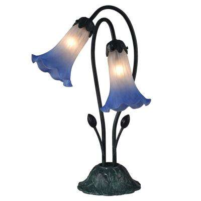 Duchess Lily 17.5 in. Antique Verde Accent Lamp with Hand Blown Art Glass Shades