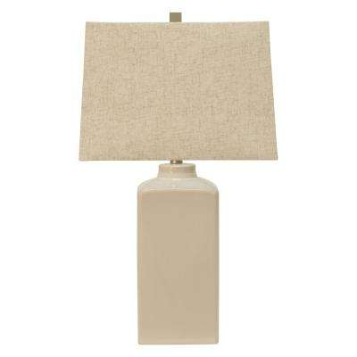 Kennedy 26.5 in. White Table Lamp with Linen Shade