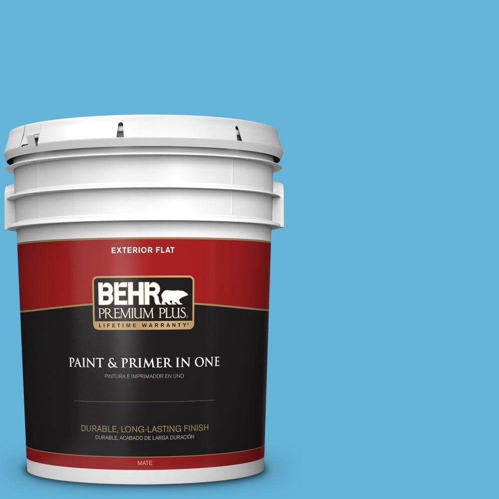 BEHR Premium Plus 5-gal. #540B-5 Riviera Blue Flat Exterior Paint