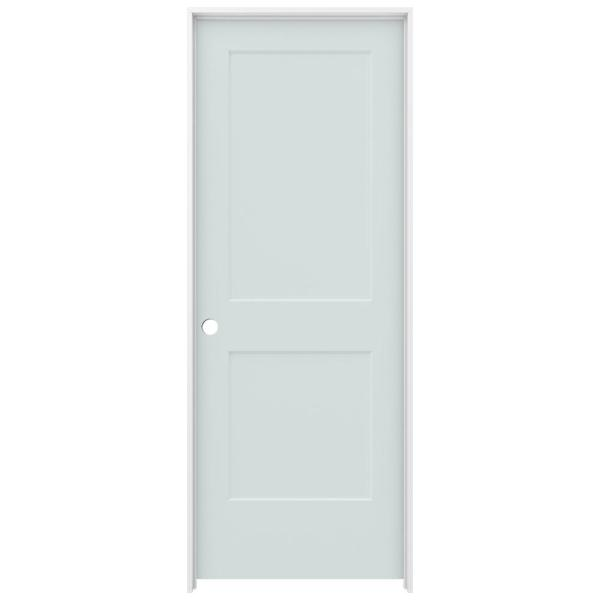 30 in. x 80 in. Monroe Light Gray Painted Right-Hand Smooth Solid Core Molded Composite MDF Single Prehung Interior Door
