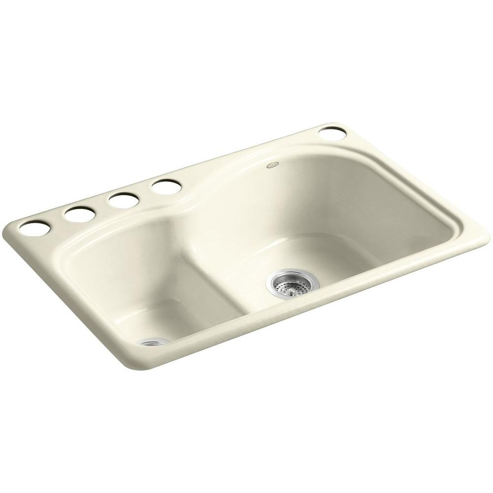 KOHLER Woodfield Smart Divide Undercounter Cast Iron 33 in. 5-Hole Double Bowl Kitchen Sink in Cane Sugar