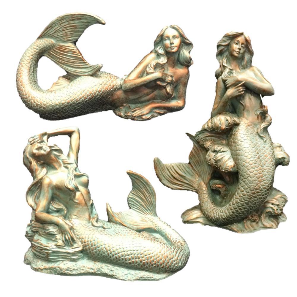 Bronze Patina Classic Mermaid Nautical Beach Statue Assortment (3-Piece Assortment)