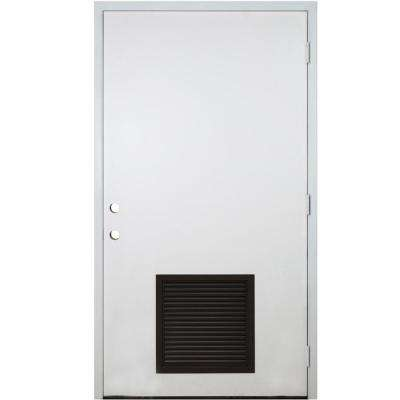42 in. x 80 in. Classic Vented Flush LHOS White Primed Smooth Fiberglass Prehung Front Door with Composite 4-9/16 Frame