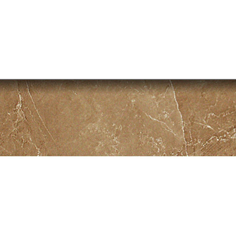 PORCELANOSA Romo Kali 3 in. x 8 in. Tobaco Ceramic Bullnose Trim Tile-DISCONTINUED