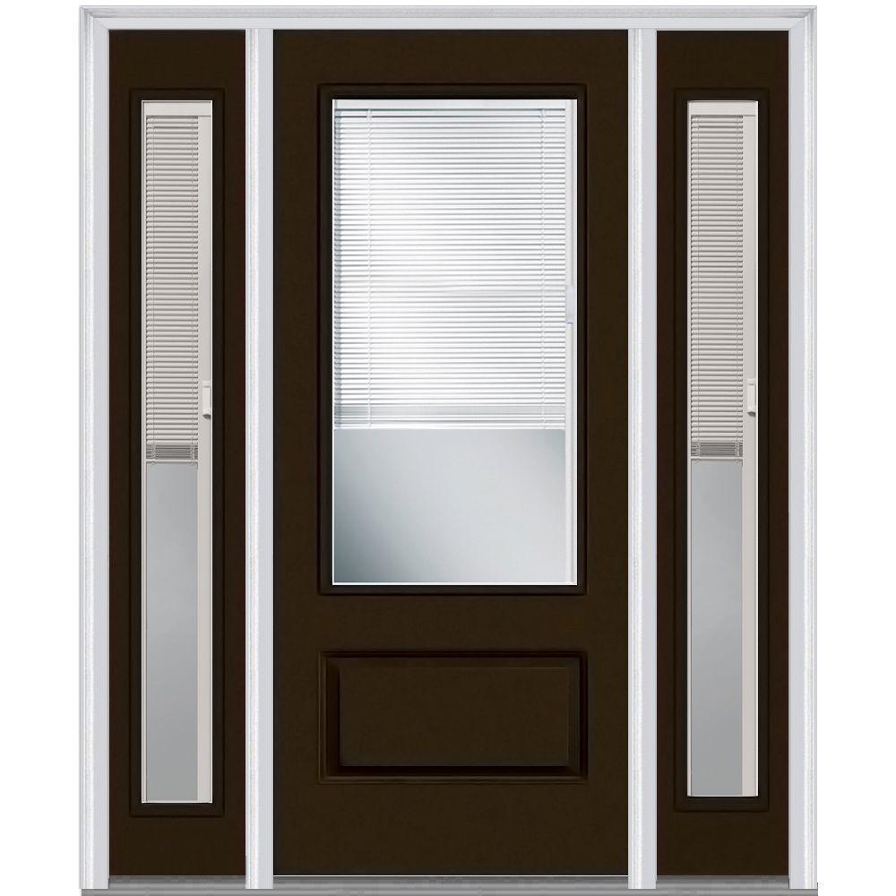 Blinds Between The Glass Single Door With Sidelites Brown