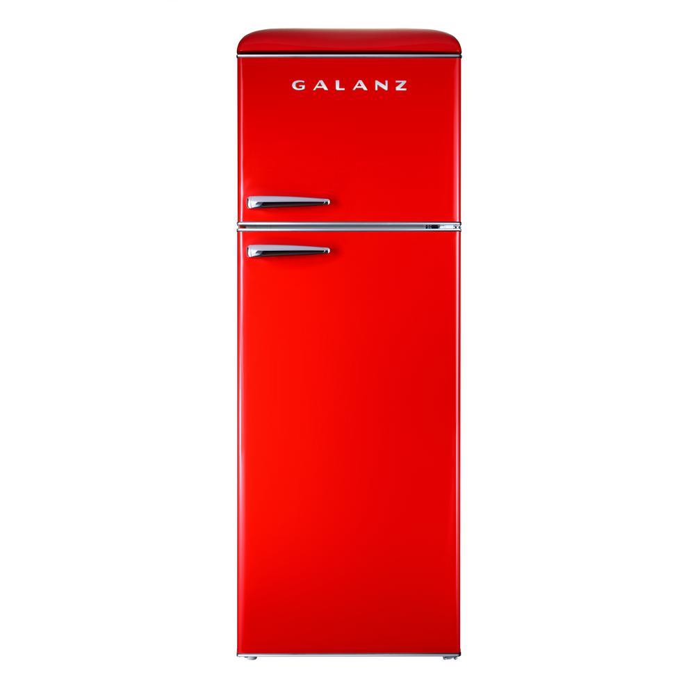 Galanz 12.0 cu. ft. Top Freezer Retro Refrigerator with Dual Door True Freezer, Frost Free in Red