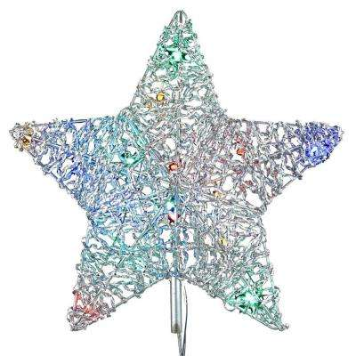 18 light led multi color 5 star metal tree topper