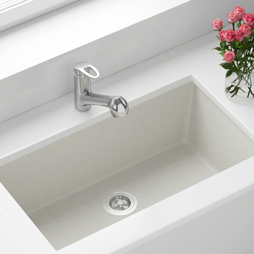 MR Direct Undermount Granite Composite 32.625 in. 0-Hole Single Bowl  Kitchen Sink in White