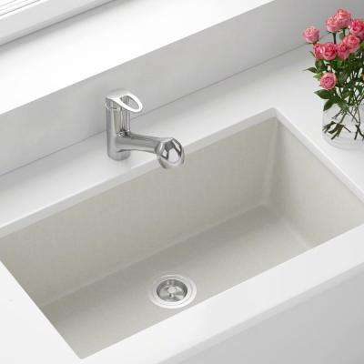 Undermount Granite Composite 32.625 in. 0-Hole Single Bowl Kitchen Sink in White