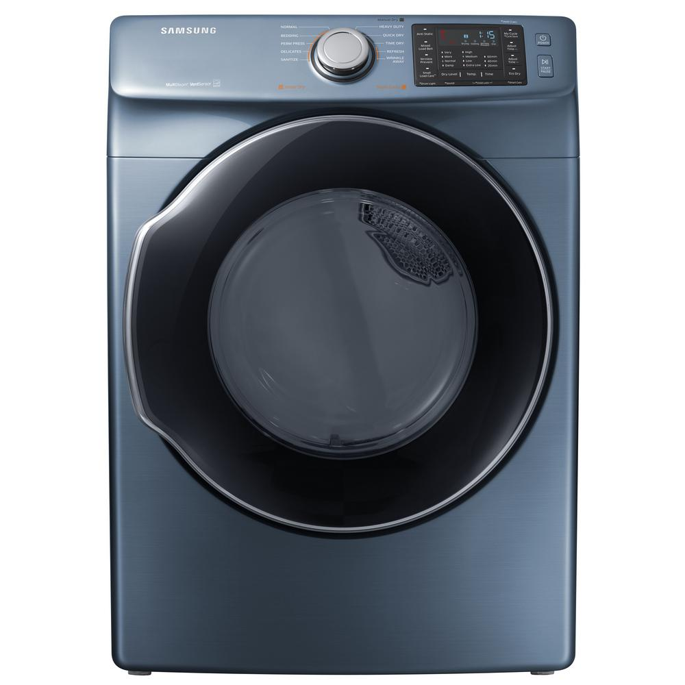 7.5 cu. ft. Electric Dryer with Steam in Azure, ENERGY STAR