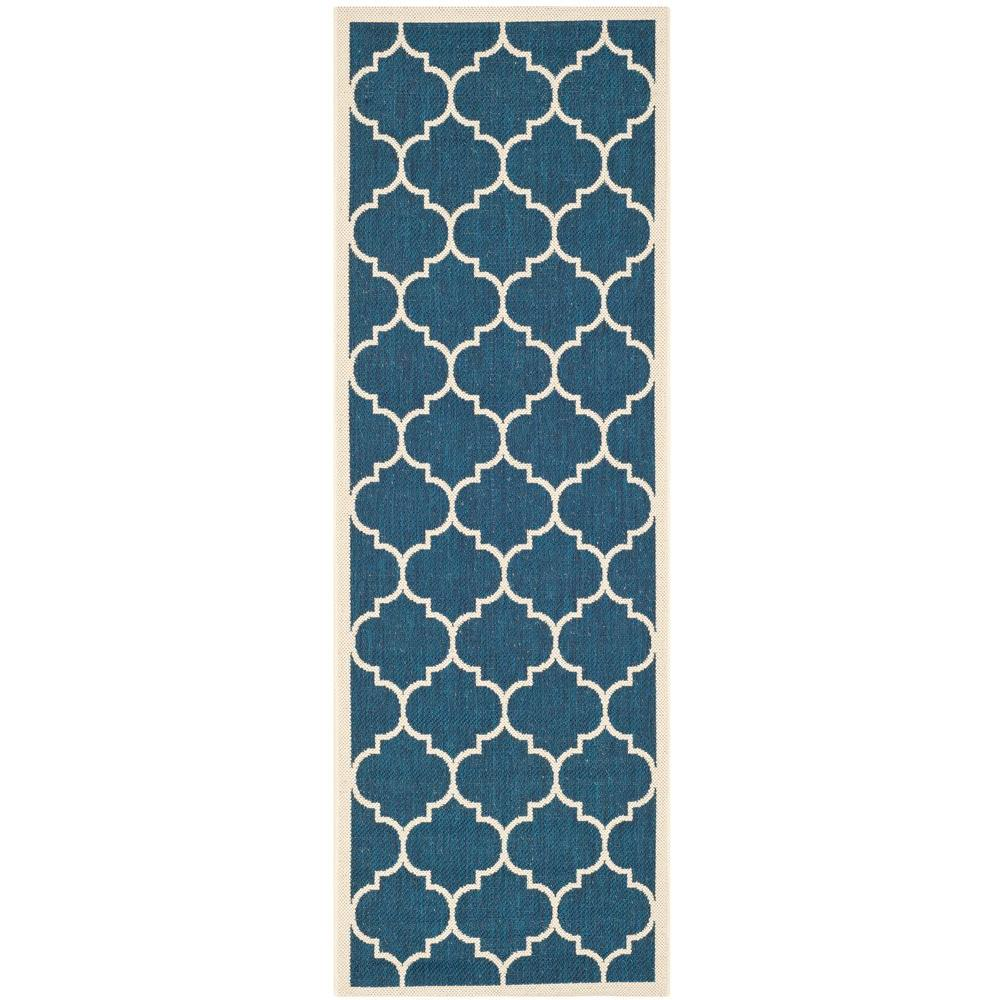 Safavieh Courtyard Navy Beige 2 Ft X 14 Indoor Outdoor Runner
