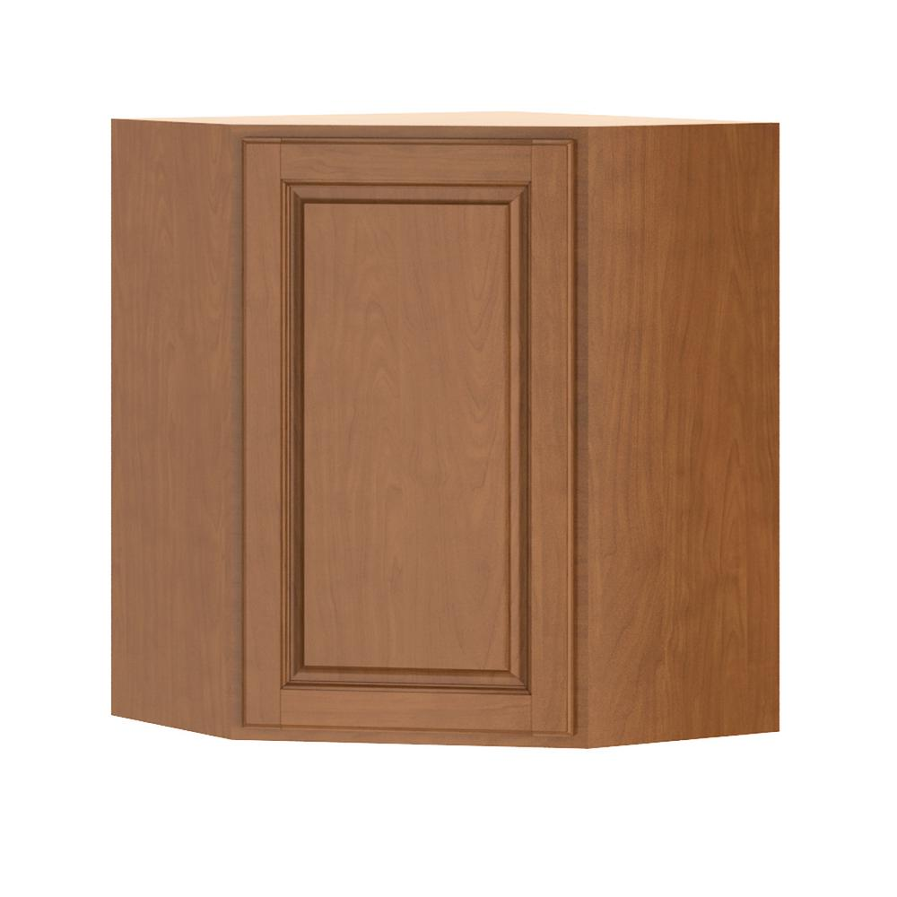 Madison Assembled 24x30x24 in. Corner Wall Cabinet in Cognac
