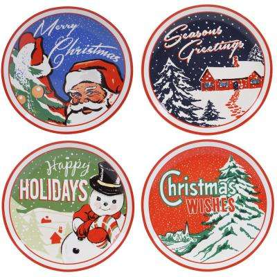 Retro Christmas 11 in. Dinner Plate (Set of 4)
