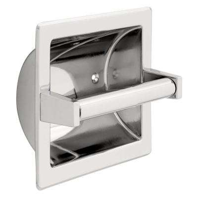 Recessed Toilet Paper Holder with Metal Roller in Chrome