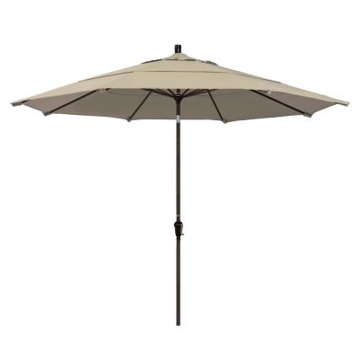 11 ft. Bronze Aluminum Market Auto Tilt Patio Umbrella in Antique Beige Olefin