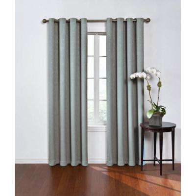Blackout Round and Round Blue River Polyester Grommet Blackout Curtain - 52 in. W x 84 in. L