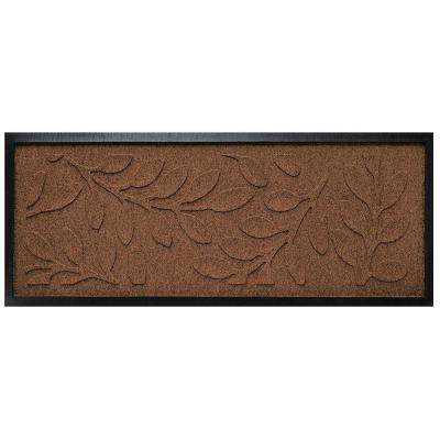 Dark Brown 15 in. x 36 in. Brittany Leaf Boot Tray