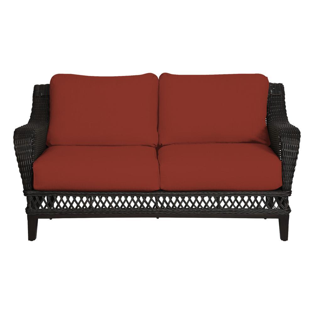 Woodbury Dark Brown Wicker Outdoor Patio Loveseat with Sunbrella Henna Red Cushions