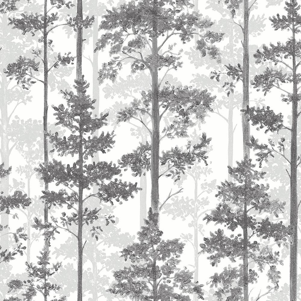 8 in. x 10 in. Pine Multicolor Silhouette Trees Wallpaper Sample