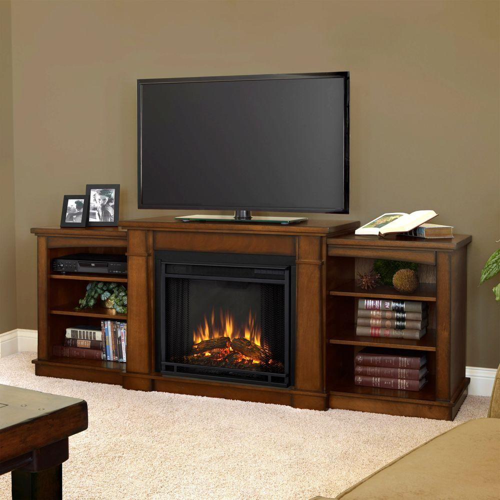 Real Flame Hawthorne 75 in. Media Console Electric Fireplace in Burnished Oak