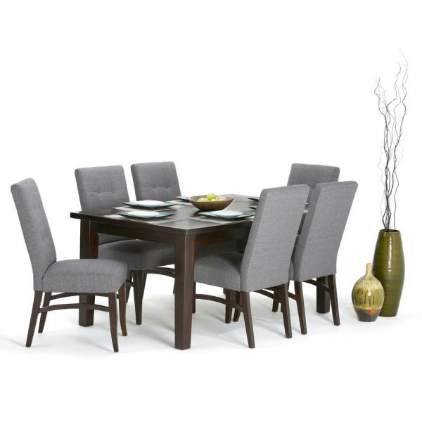 Ezra 7 Piece Dining Set With 6 Upholstered Chairs In Slate Grey Linen Look Fabric And 66 Wide Table
