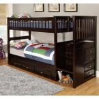 Espresso Twin over Twin Staircase Bunkbed with 7-Drawers