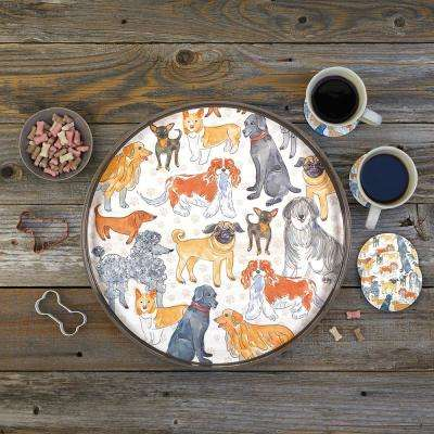 Dogville Brown Lacquer Decorative Round Tray