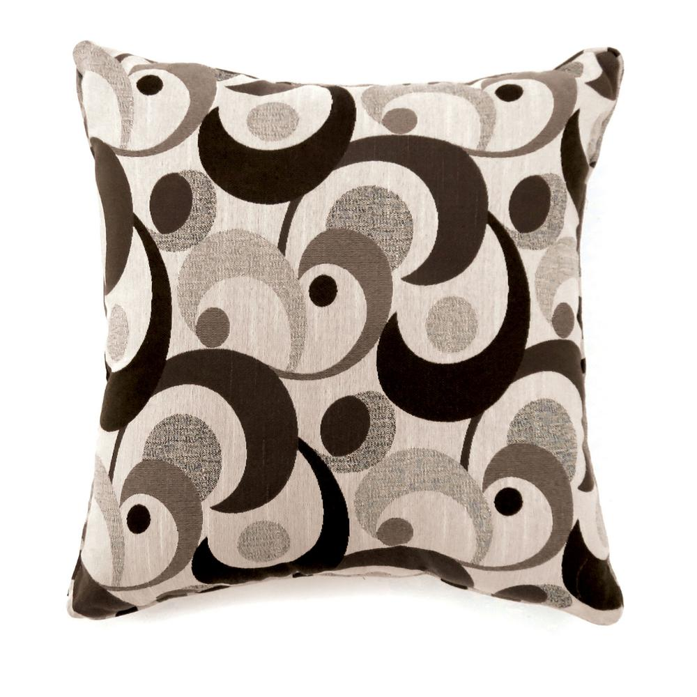 Swoosh 18 in. Contemporary Throw Pillow in Dark Brown (Pack of 2 ...
