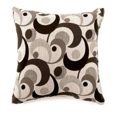 Swoosh 18 in. Contemporary Throw Pillow in Dark Brown (Pack of 2)