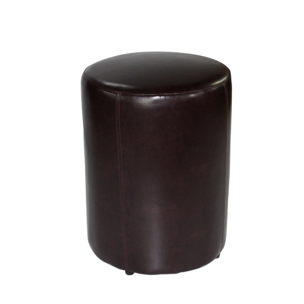 Awe Inspiring Tyler 23 In Chocolate Leather Round Stool Dailytribune Chair Design For Home Dailytribuneorg