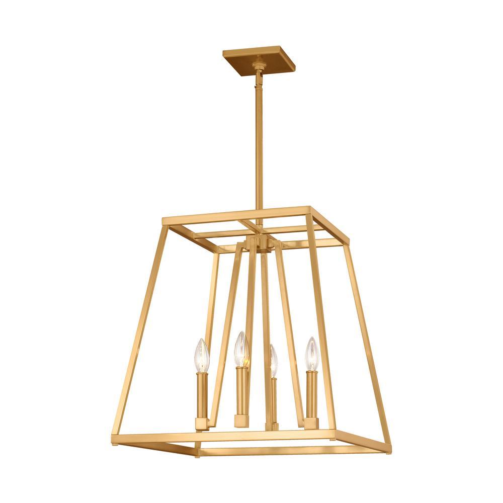Conant 4-Light Gilded Satin Brass Chandelier