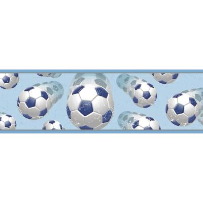 Beckham Blue Soccer Ball Motion Wallpaper Border Sample