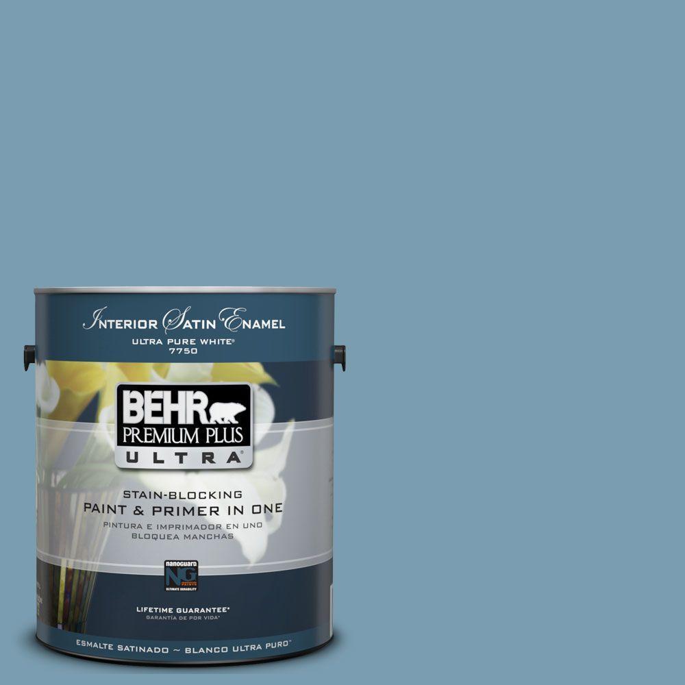BEHR Premium Plus Ultra 1-Gal. #UL230-17 Blue Cascade Interior Satin Enamel Paint